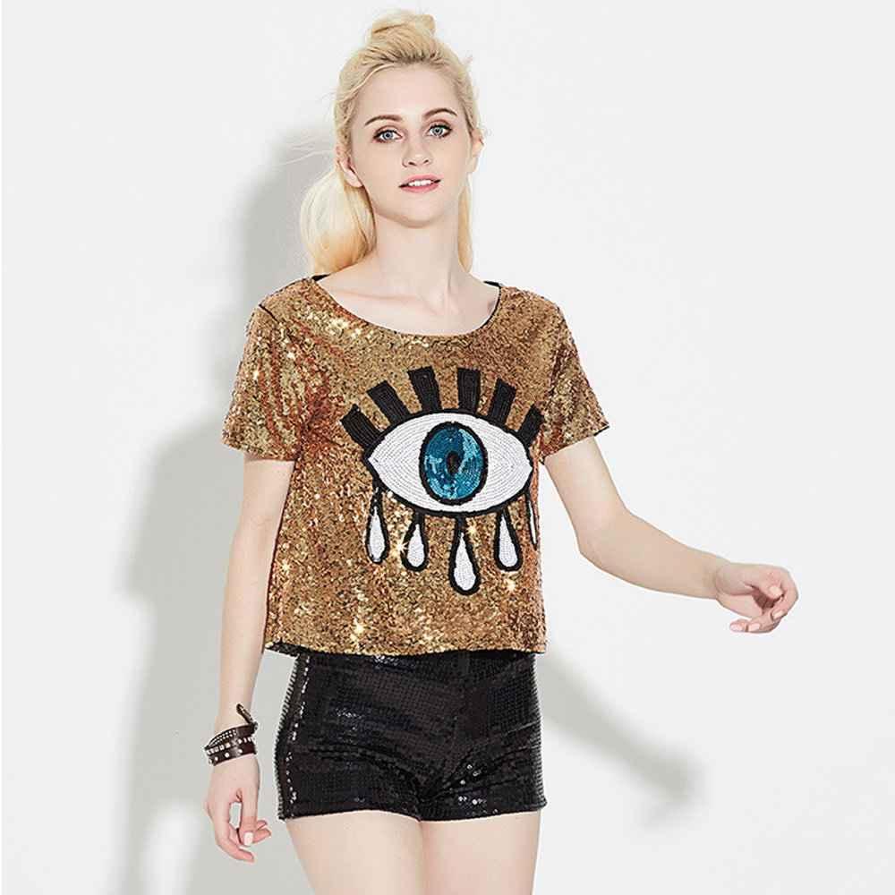 2018 Summer Women Street Fashion Cartoon Eye Sequins T Shirt Sexy Silver  Gold Green Party T ee2d71104055