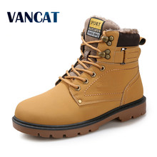 Super Warm Men's Winter Pu Leather Ankle Boots Men Autumn Waterproof Snow Boots Leisure Martin Autumn Boots Shoes Mens