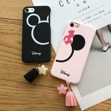 Promotion! Cute Mickey Minnie Head Cartoon Couple Hard Plastic Cases For iPhone 7 7 Plus 6 6S Plus Star Tassel Coque