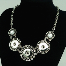 NEW DJ0082 Vintage Jewelry Metal Chain Snap necklace 50CM Rhinestone Flower pendant fit DIY 18MM snap buttons jewlery