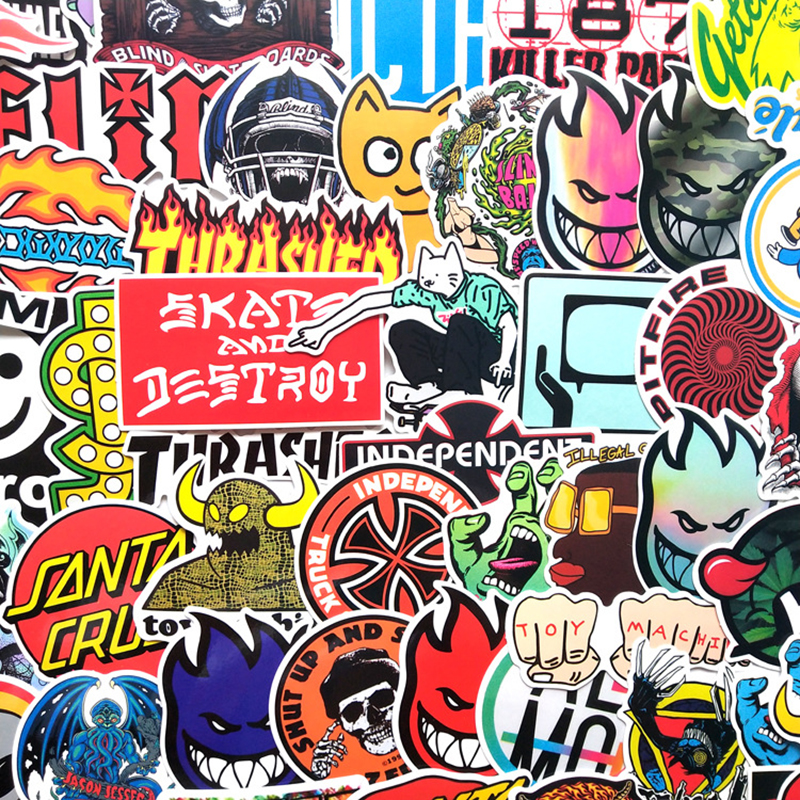 100pcs Random NO Repeat Classic Fashion Style Graffiti Stickers For Moto Car & Suitcase Cool Laptop Stickers Skateboard Sticker