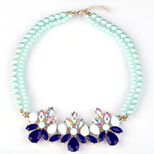 Match-Right Multicolor Crystal Simulated Pearl Statement Necklace Women Bling Necklace & Pendants Summer Style Jewelry colar