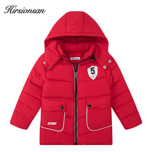 Hirsionsan 2017 Winter Down Jacke for Girls Boys Hooded Zipper Mid-Length Warm Coat For Boys Outerwear Children's Clothes