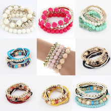 LNRRABC Women Handmade New Style Beaded Bracelet Bohemia Stretch Multilayer Bead Flower Charm Bangle Elastic Gift