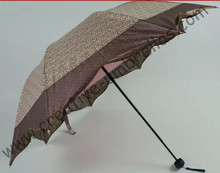 Maple leaf umbrella,leopard printed fabric,8k ribs,three fold,hand open umbrellas,imitation paradise umbrella.supermini