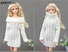 Pure White Doll Accessories Knitted Woven Handmade Tops Coat Dress Clothes Sweater For Barbie Doll Gifts For Girls Kids Toy(China)