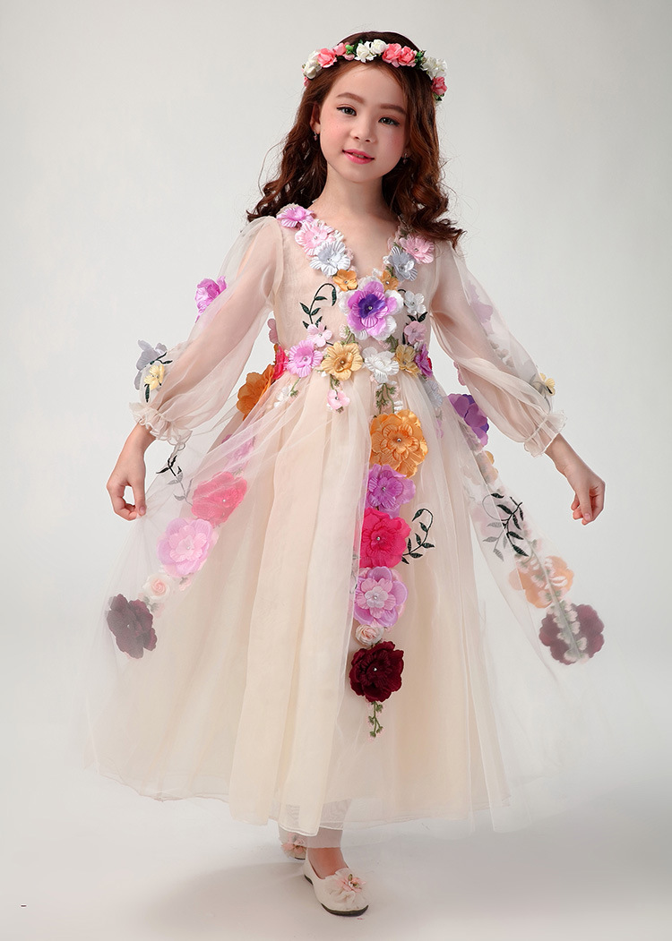 New 2017 Big Kids Girls Lace 3D Floral Dresses Baby Girl Mesh Party Dress Babies Long Sleeve Princess tutu Dress kids Clothing<br><br>Aliexpress