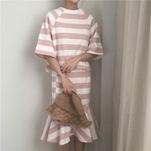 [soonyour] 2017 Summer  New Pattern O-neck Empire Waist Width Stripe Spelling Color Casual Dress Woman L07101