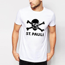 Summer Style Brand Clothes Printed St Pauli Men T-shirt Shirts Casual Terraces 80s ACAB Skull Short Sleeve Slim Top Hiphop Tees