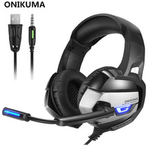 ONIKUMA K5 Best Gaming Headset Gamer casque Deep Bass Gaming Headphones for Computer PC PS4 Laptop Notebook with Microphone LED(China)