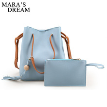 Mara's Dream Women Bags 2017 New Tassel Drawstring Bucket Bags Small Candy Color Bag Fashion Trend Brief Shoulder Bag For Lady