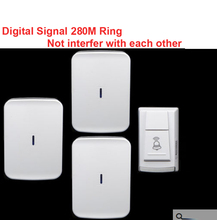 wireless door bell w/ 3 receiver & power by AA battery doorbell Waterproof 280 Meter door chime door ring digital signal ring