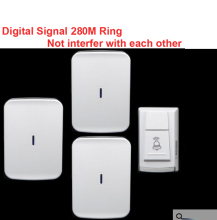 wireless door bell w/ 3 receiver & power by AA battery doorbell Waterproof 280 Meter door chime door ring digital signal ring(China)
