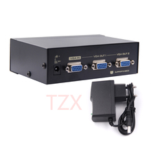 1pcs 2 Port VGA 250MHz Video HD Signal Amplifier Booster Splitter Share Box 1920*1440 for PC Monitor Projector US Plug