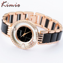 KIMIO Luxury Brand Designer Ladies Watch New Women Dress Clock Pearl Scale Bracelet Stainless Steel Crystal Diamond Quartz-Watch(China)