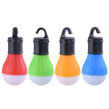 4 Colors Portable outdoor Hanging 3 LED Camping Lantern Soft Light LED Camp Lights Bulb Lamp Camping Tent By AAA Battery
