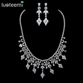 LUOTEEMI New Luxury White Gold-Color Multi Crystal Bridal Jewelry For Brides Necklace Wedding Party Accessories For Women