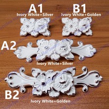 Single hole/96mm hole  furniture knob drawer pulls Antique cabinet handle Ivory white color with Flower Carved