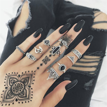 Best Price 10pcs/Set Women Bohemian Vintage Silver Stack Rings Above Knuckle Blue Rings Set