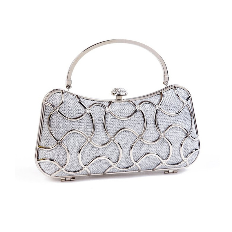 New!Silver color Clutch Bag Evening Bag Crystal Bling Bride Handbag Gems Purse Wedding Bag For Women With Detachable Chains<br>