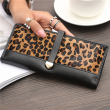 Women Genuine Leather Wallets Fashion Horse Hair Leopard Long Clutch Bag Purses And Handbags Coin Purse Card Holder Carteras(China)