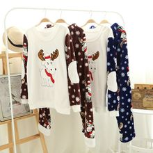 Men Flannel Pajamas sets Winter Couple Pyjama Suits Thick Christmas Nightclothes Casual Dressing Gown Home Lounge 122902