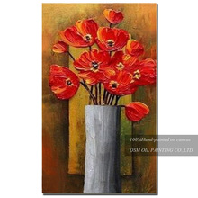 Painter Team Directly Supply High Quality Vase Flower Oil Painting on Canvas Impression Red Flower Oil Painting for Living Room