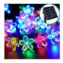 Solar Power Fairy String Lights 9.4M 50 LED Peach Blossom Garden Lawn Patio Christmas Trees Wedding Party Decoration Light Lamp