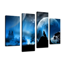 Canvas Art Wolf Howling in Midnight 4 Piece Painting Large Wall Art Print Blue Fancy Themed Modern Artwork for Home Decor