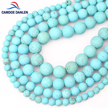 100% Natural Stone Beads Gorgeous Matte Blue Turquoises 6 8 10 12MM Dull Polish Howlite Bead For DIY Jewelry Making Bracelet(China)