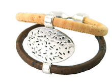 MB Cork Europe Warehouse Round metal men bracelet ,natural cork handmade women jewelry,18cm REF-683