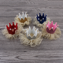 30pcs/lot 5colors Newborn 3D Felt Kids Crown+Mesh Flower For Girls Hair Accessories Glitter Felt Crown For First Birthday Hat(China)