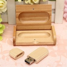Brand New 4G/8G/16G/32G Wooden Ellipse USB 2.0 Flash Drive Bamboo U Disk + Wood Case Memory Stick
