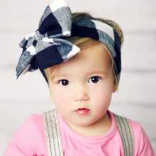 DIY plaid Kids hairbow for girls headwrap cute cotton headband big bowknot hairband for Children's hair accessory gift