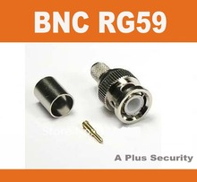 Male BNC crimp connector plugs RG59 BNC Connector 100pcs/lot BNC male plug for RG59 coaxial cable