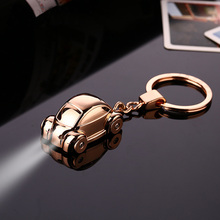 New High Quality Luxury Small Car Key Chain All Metal With LED Light Key Ring Women and Men Car Purse Keychain Creative Gift