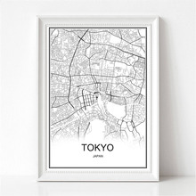 Tokyo Japan World City Map Print Poster Abstract Coated Paper Bar Cafe Pub Living Room Home Decoration Wall Sticker 42x30cm