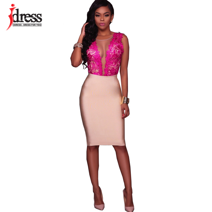 IDress Fashion 2018 New Lace Jumpsuit Women Summer Short Bodycon Playsuit Sexy Backless Mesh V Neck Overalls Party Lace Bodysuit (5)