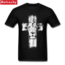 Cool lion of judah jesus T Shirt Men Funny Cross Lion Tee Shirts  Mans Custom Short Sleeve Valentine's 3XL Tshirt Tops
