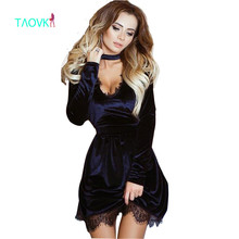 TAOVK 2016 new fashion Russian style Women Autumn Blue clothes
