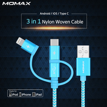 Momax 1m Long 3 in 1 USB A to Type C Data Lightning USB MFi Cables for Samsung Braided Charging Cable for Apple iPhone 6 7 Plus(China)