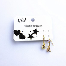 Ms black popular classic jewelry wholesale girl heart-shaped star tower birthday party gift earrings free shipping!