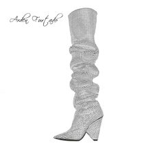 Arden Furtado 2018 autumn winter fashion cone heels high heels 10cm silver  sequined cloth knee high boots sexy women s shoes 233bc5845ec4