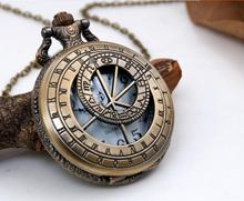 Vintage Ancient prose engraved wheel Fashion quartz Bronze Hollow out steam punk Necklace pocket watches