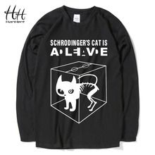 HanHent Christmas Gift Schrodinger's Cat Man's T-shirt Long Sleeve Cotton Tops Creative Men Casual The Big Bang Theory T Shirts(China)