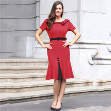 2017Vintage 50s 60s Women Bodycon zip Short Sleeve Elegant Dres Skirt OL Formal Retro Mermaid Trumpet Tunic Dres Skirt free ship