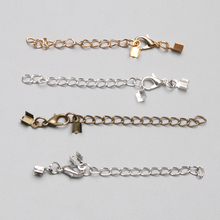 10sets/lot 70mm Silver gold clips Fit Round Leather Cord Connectors With Lobster Clasps DIY Jewelry Connectors Accessories