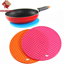 Hourong 1Pc Round Silicone Mat Placemat Non-slip Heat Resistant Dining Table Mat Cup Coaster Hung Pad Kitchen Gadget Accessory