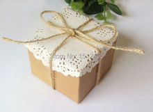100pcs/lot Brown Square Kraft Paper Boxes With Paper Lace Doilies and String Wedding Favors 6*6*5cm KF11-100(China)