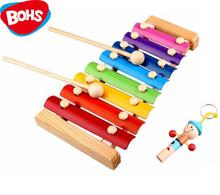 BOHS  8 Scales Melody Piano and Whistle, Baby's Early Childhood Education Wooden Toy Musical Instrument , 24*13cm